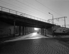 Wrocław, Poland. (wojszyca) Tags: intrepid camera 4x5 largeformat fujinon sw 90mm ilford hp5 hc110 163 epson v800 city urban street wrocław viaduct railway cobblestone