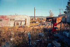(patrickjoust) Tags: fujica gw690 kodak portra 160 6x9 medium format 120 rangefinder 90mm f35 fujinon lens c41 color negative film manual focus analog mechanical patrick joust patrickjoust west western us united states north america estados unidos rural country benton ca california old car auto automobile vehicle parked truck camper desert small town morning chair weed wire