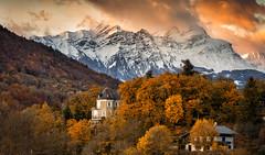 Delirium (Perez Alonso Photography) Tags: mountains castle sunset autumn landscape cityscape snow ice clouds france frenchalps albertville