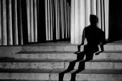 The Shadowman (heinzkren) Tags: schwarzweis blackandwhite urban shadow lines canon canonr eos eosr wien abstract magic mystery säulen vienna art stairs stufen treppe pillars man mann adonis biancoetnero noiretblanc street streetphotography architecture