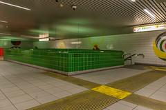 The green corner (jefvandenhoute) Tags: belgië belgium antwerp metro subway sport green