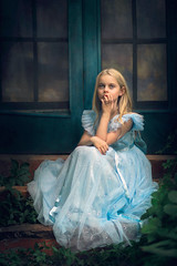 I need a title ({jessica drossin}) Tags: jessicadrossin girl blue dress windows screen frames pretty hair blonde long steps outdoors portrait face child kid colorado wwwjessicadrossincom