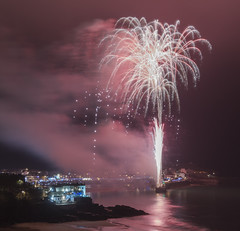 Fireworks in St Ives (CarolynEaton) Tags: newyear stives cornwall fireworks red