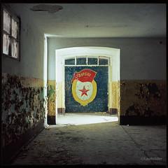 Installation, N°586 (fuseholder) Tags: gssdabandoned sovietunionabandoned sovietmurals sovietmosaic redstar coldwar mamiyac33 fujivelvia