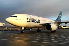 Transat Veteran (C-GTSH) (Fraser Murdoch) Tags: air transat ts tsc airbus a310 310 cgtsh c gtsh 343 glasgow international airport egpf gla huawei p8 2017 winter 2019 swissport ramp airside vintage veteran classic widebody aircraft plane spotting fraser murdoch canon eos 650d canada toronto yyz cyyz scotland united kingdom a321neo uk scottish movement traffic