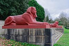 Sphynx (Croydon Clicker) Tags: statue sculpture sphynx egyptian park crystalpalace southlondon london bromley plynth tree steps grass nikond700 nikkoraf28105mmd