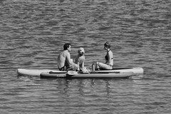 Chillin' at the Lake (RADfotoX) Tags: lake water outdoors people travel pet dog sup stand up paddle board row rowing fun summer monochrome keepaustinweird austin weird keep spianimals spicollective blackwhite