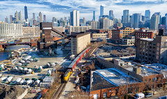 Sky News (Carlos Ferran) Tags: up union pacific yno68 local chicago tribune urban downtown river west city locomotive emd gp402 loco rails sunny skyline sky line drone