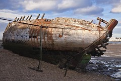 hy _MG_3549 (phreddyy) Tags: uk hythe southampton hampshire waterfront abandoned derlict boat ship vessel wreck ruin water sea southamptonwater shingle bluesky sunny clouds barge