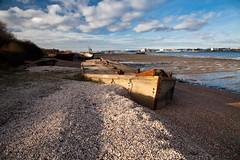 hy _MG_3535 (phreddyy) Tags: uk hythe southampton hampshire waterfront abandoned derlict boat ship vessel wreck ruin water sea southamptonwater shingle bluesky sunny clouds barge