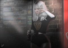 so sad (lIIllIIIlIllIII) Tags: rain female photography store sad photoshoot edited crying posing coke rainy secondlife kawaii soda cutegirl upset genus maitreya dark alley alone