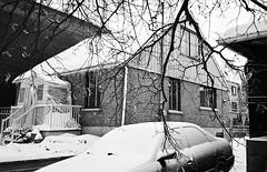 La neige habille toutes les formes autour d'elle... (woltarise) Tags: tessar3535mm yashicat4super ilfordxp2 argentique film habitsd'hiver glace neige résidentiel maison rosemontpetitepatrie quartier montréal