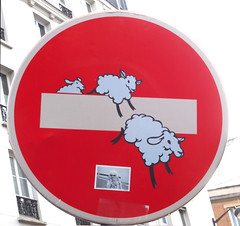 By Clet [Paris 11e] (biphop) Tags: europe france paris streetart clet abraham panneau fake roadsign