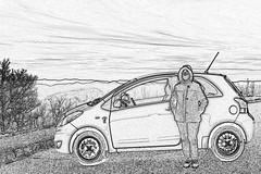 Yaris_Sketch_Pad (NC Mountain Man) Tags: girl woman female wife lowresolutionversion ncmountainman bw blackandwhite blueridgeparkway brp sky clouds car yaris toyota 2010 nikon d3400 phixe