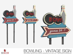 NEW! Bowling - Vintage Sign @ TMD (Bhad Craven 'Bad Unicorn') Tags: bowling vintage retro 3d art artist gfx graphic design bhadcraven badunicorn unicorns unicorn bad bhad craven secondlife second life sl mesh meshed decor decorative decors home garden gardens homes houses builds buildings cool dope