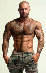 1504 (rrttrrtt555) Tags: hair hairy shoulders arms tattoo buzz buzzcut bald shaved stubble camouflage camo pants drawstring ripped masculine stare eyes torso attitude beard chest chin hands muscles smile