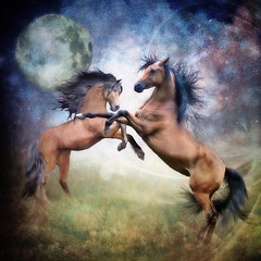Come To Life (larwbuck) Tags: artistic composite effects fantasy hair horses moon night outdoors painterly stars textures
