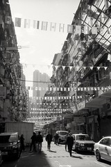 (David Davidoff) Tags: people street life shadow templestreet hongkong analogue monochrome leicam6ttlrangefinder rf candid blackwhitebw flags cityvision urbanprospects olddistrict oldbuilding