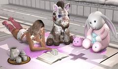 Chilling with friends (qzxr) Tags: gachaland gachaevents gimmegacha shopping sl secondlife id innerdemons bentleysbunnies dmrposhponies kayasrayofsunshine babysunshine meshagency catwa maitreya laqdecor pcp pinkcreampie vista earthstones doux shoppingevents