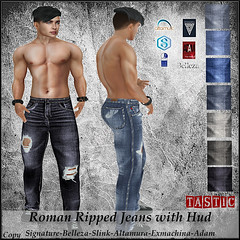 Tastic-Roman Ripped Jeans with Hud!! (Spanky SL *Owner of Tastic store*) Tags: tastic jeans hud pants mens male signature gianni slink belleza jake exmachina altamura adam mesh bento catwa stealthic body ripped tornblack white blue denim inside outside old new flickr secondlife sl