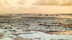 Keyhaven Marshes (Adventures in Infrared) (Torsten Reimer) Tags: canoneosm6 england boote europa isleofwight himmel boats clouds unitedkingdom wolken infrarot ocean infrared shore see sea wasser sky solent water europe uk marshes lymington hampshire