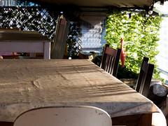 Table in the Sun (Andy Sut) Tags: restaurant dining artscentre tablecloth shadows sun table artyfarty uk england york panasonic lumix andysutton