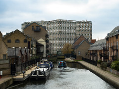 Hertford Union Canal with Cranbrook Estate in the Background (London Less Travelled) Tags: uk unitedkingdom britain england london city urban suburban suburb suburbs suburbia towerhamlets building canal hertfordunion water waterway barge boat cranbrook lubetkin tecton tower block housing socialhousing globetown