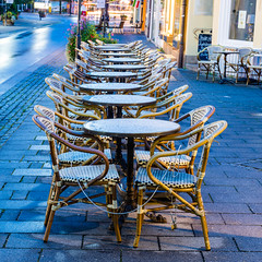 Tables After The Rain (George Plakides) Tags: garmischpartenkirchen wet tables chairs raindrops