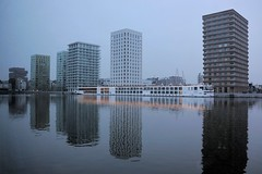 Blue Hour in  Rotterdam (Esther Spektor - Thanks for 16+millions views..) Tags: holland rotterdam bluehour evening twilight building architecture water river ship reflection lights estherspektor canon