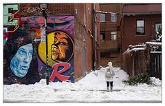 L'art dans la rue. (francis_bellin) Tags: photographe streetphoto street montréal ruelle froid photographie graffeur couleur artistederue photographederue photographierlarue ville streetphotographie graf photoderue 2019 neige artdanslarue