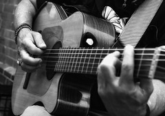 with his song (gro57074@bigpond.net.au) Tags: withhissong sologuitar streetphotography sydney haymarket bw monochromatic monotone monochrome mono blackwhite 70mm f80 2470mmf28 tamron nikon d850 classicalguitar january2020 guyclift acousticguitar acoustic guitar streetmusician peterdickson