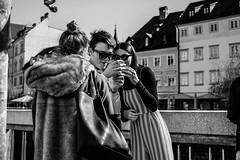 Curiosity (* Jernej *) Tags: blackandwhite person people text bw monochrome street art streetart timeless time shadow black light white phone city ljubljana candid blackwhitepassionaward