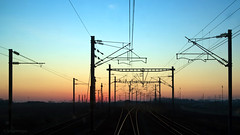 Riding On A Railroad (sdupimages) Tags: landscape railscape railroad paysage sunrise light shadow train eurostar tgv silhouette pov lumière perspective levédesoleil chemindefer lines lignes