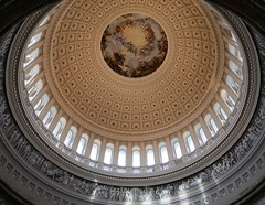 ROTUNDA DOME (Rob Patzke) Tags: rotunda round politics lx100 panasonic lumix up marble light pillar paint fresco capital washington symmetry arch window detail history mural etch carve art dome pov perspective