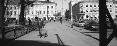 Walk with the dog (Missing Pictures) Tags: filmcamera film eu europe peopleonthestreet people photography explored explore urban walk finland helsinki white bw blackandwhite black city town street dog mood monochrome travel traveling