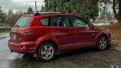 2005 Pontiac Vibe (mlokren) Tags: 2020 car spotting photo photography photos pic picture pics pictures pacific northwest pnw pacnw oregon usa vehicle vehicles vehicular automobile automobiles automotive transportation outdoor outdoors gm general motors poncho toyota 2005 pontiac vibe hatchback hatch red