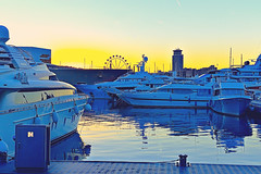 Golden or blue hour? (Fnikos) Tags: port puerto harbor sea mar mare water serene waterfront sky cielo ship boat building architecture construction tower color colour colores colours colors blue blau azul blu gold golden light shadow shadows reflection barceloneta barcelona sunset puestadelsol atardecer outside outdoor