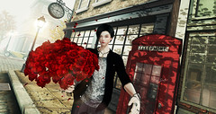 If I had a rose for every time I thought of you, I'd be picking roses for a lifetime. (Chiaki♪) Tags: secondlife rose roses bouquet date time clock telephone sl story style sunset sun