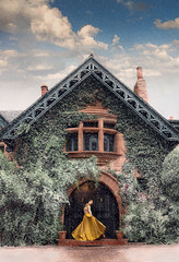 Snow Globe ({jessica drossin}) Tags: jessicadrossin woman dress yellow snow sky clouds dream fairytale pretty ivy colorado wwwjessicadrossincom