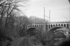 Westward Up The Gwynns Falls Valley (DJ Witty) Tags: westernmarylandrailway blackwhite bw rr kodakretinalllc photography railroad amtrak