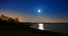 klare, kalte Nacht am Strand (Harald Steeg) Tags: stausee talsperre bautzenburk nacht winter langzeitbelichtung mondlicht reflexion wasser sternenhimmel