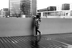 On the imaginary way (pascalcolin1) Tags: paris13 enfant child chemin way pluie rain eau water photoderue streetview urbanarte noiretblanc blackandwhite photopascalcolin 50mm canon canon50mm