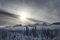 The evening sun (Varvara_R) Tags: canada transcanadahwy britishcolumbia nature winter weather contrejour sky clouds mountain mountains mountainscape frost snow cold coth5