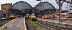 Classic Traction at the Cross, Left to Right, 90020, 92032, 91112, 43272, 91113 and 91127  06 05 2019 (pnb511) Tags: london kings cross station terminus terminal train shed arched roof glass lner trains east coast mainline class91 class43 hst highspeedtrains ecml class92 loco locomotive electric engine railway ohl kingscross