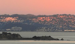 Alpenglow on the Berkeley Hills (Ruby 2417) Tags: sunset alpenglow golden gate berkeley oakland color colorful pink hills bay water scenery landscape vista view california window reflection marin reflections windows