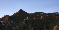 Warm light on chilly peaks (Jeff Mitton) Tags: firstflatiron greenmountain gregorycanyon amphitheater pinnacle cliff landscape boulder colorado bouldercountyopenspaceandmountainparks dawn sunrise earthnaturelife wondersofnature