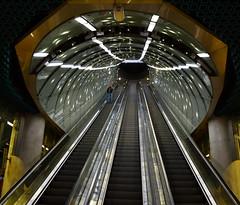Upstairs (kaprysnamorela) Tags: station metro warszawa polska stacja metra centrumnaukikopernik nikon d3300 stairs handrail perspective converginglines