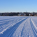 Ski tracks on Campbell Lake. Anchorage, Alaska