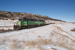 BNSF 1659 Spruce 30 Dec 19 (AK Ween) Tags: bnsf bnsf1659 bnsf1933 emd sd402 spruce colorado jointline pikespeaklocal sprucemountain sprucemountainopenspace cascadegreen train railroad