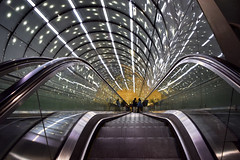 Downstairs (kaprysnamorela) Tags: stacja metra polska centrumnaukikopernik warszawa poland warsaw perspective handrails stairs converging lines